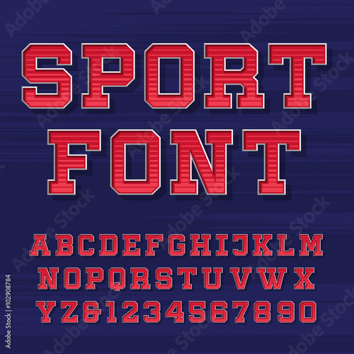 Athletic alphabet vector font  Retro style typeface for