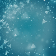 Abstract cyan blue background with triangle bokeh defocused lights