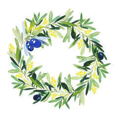 Olive wreath watercolor. Handmade. Wedding, Easter, birthday, Mother's Day. Congratulation card.