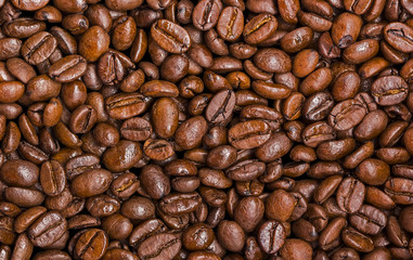 The texture of the roasted coffee.