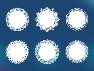 Vector decorative lace frames. Doily templates for logo, names