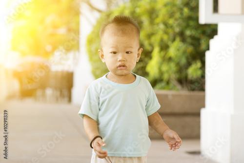 Mother Little Asian Toddler Girl Walking Stock Photo ...