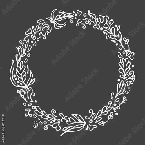 Leaf doodle wreath Chalkboard imitation Vintage round frame on