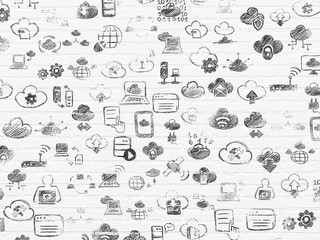 Grunge background: White Brick wall texture with Painted Hand Drawn Cloud Technology Icons