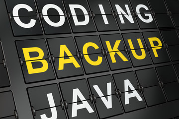 Software concept: Backup on airport board background