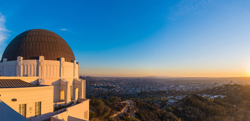 Panoramic view of Los Angeles downtown skyline viewed from Griffith Observatory.