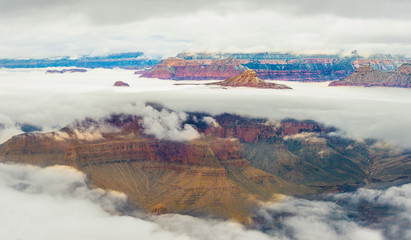 Panoramic The Grand canyon national park in snow