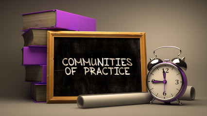 Communities of Practice Concept Hand Drawn on Chalkboard. Blurred Background. Toned Image. 3D Render.