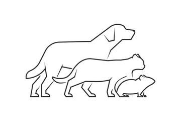 Black line logo for pets shop. Vector linear pets on a white bac