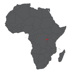 Map of Africa on gray with red Rwanda vector