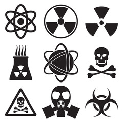 Vector black atom icons set nuclear danger