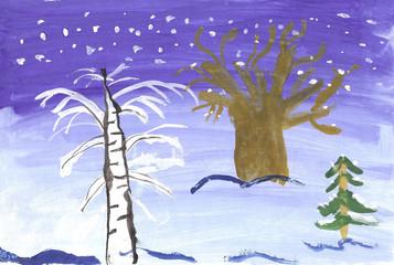 Children drawing winter landscape.