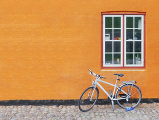 Bike on the background of wall