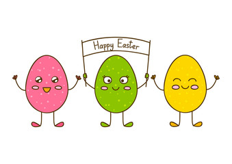 Funny Easter eggs on white background 2