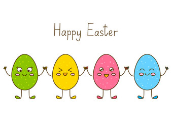 Funny Easter eggs on white background