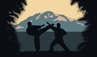 Illustration, two men occupy karate on a background an ocean and mountains.