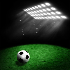 Soccer ball on the stadium lawn