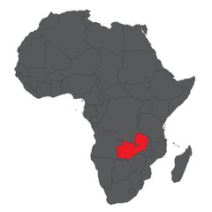 Map of Africa on gray with red Zambia vector