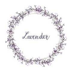 Hand drawn lavender wreath, vector illustration backgroundr