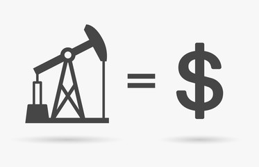 Crude oil sign equals dollar currency symbol - value of oil concept icon. Vector illustration.