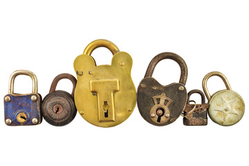 Row of vintage rusted locks