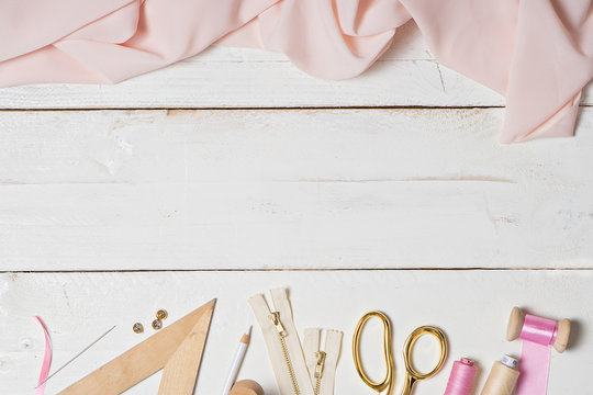 colorful Background with sewing tools