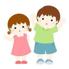 happy boy and girl cartoon character vector