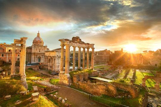 Roman Forum. Ruins of Roman Forum in Rome, Italy during sunrise.