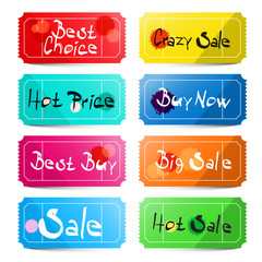 Best Choice - Crazy Sale - Hot price - Buy Now - Best Buy - Big Sale - Sale and Hot Sale Titles on Vector Tickets Labels Set