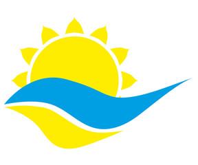 Logo sun on a white background stylish
