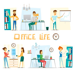 Business people working on office. Flat vector illustration