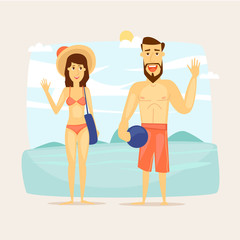 People on vacation, couple on the beach. Beach characters. Summer holiday, travel, journey, vacation in paradise. Vector illustration.