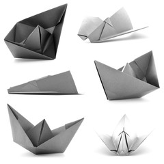 Monochrome origami collection, airplane, ship photoset isolated on white background