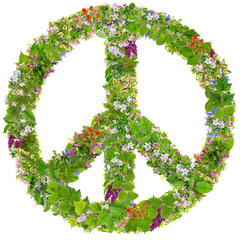 Green Peace symbol from  spring plants