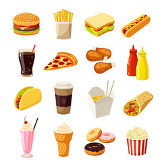 Set of cartoon fast food. Vector illustration, eps10, isolated on white.