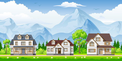 Wall Mural - Landscape with three classic houses