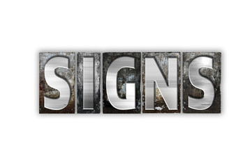 Signs Concept Isolated Metal Letterpress Type