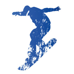 Snowboarder, abstract grungy vector silhouette