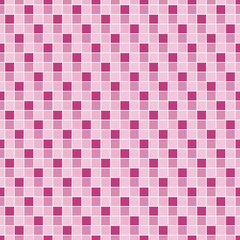 Vector seamless pattern. Geometric seamless pattern. Mosaic seamless pattern. Texture consisting of square elements. The pattern elements are arranged on a white background. In magenta.