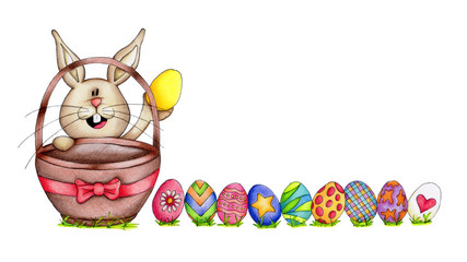 Easter bunny with colorful eggs isolated on white background