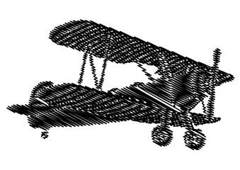 Avion vntage en graffiti en noir et blanc