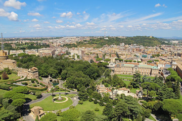 Panoramic view of historic center of Rome, Italy
