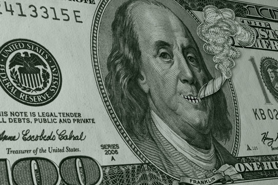 Ben Franklin Smoking Reefer and Smiling on Hundred Dollar Bill