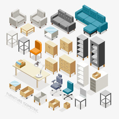 Furniture Isometric icons. Vector Illustration.