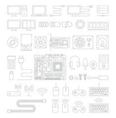 Computer hardware line icons set. Vector Illustration.