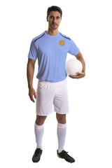 Argentine soccer player on white background