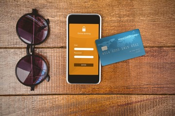 Composite image of digitally generated image of credit card