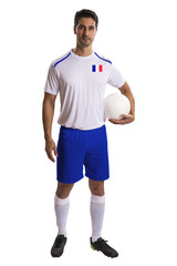 French soccer player holding ball on white background
