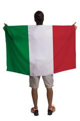 Fan holding the flag of Italy celebrates on white background