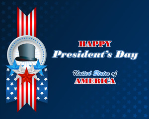 President's Day, abstract graphic background with flag, stars and top hat ; Holidays, layout, template with blue, white, red stars and top hat on national flag colors for American President's Day